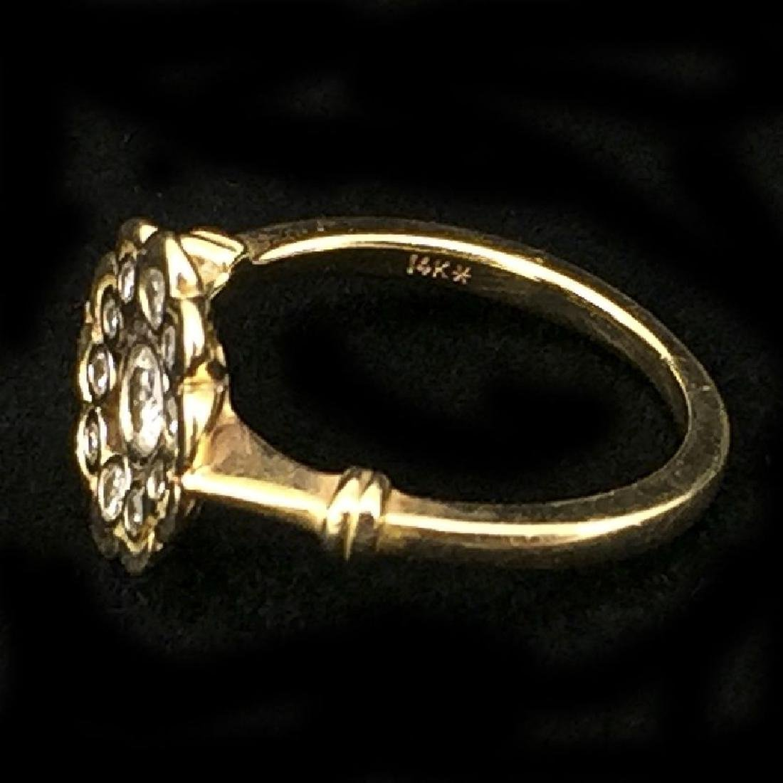 14K Gold Ring With 11 Diamonds - 3