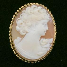 10K Gold Cameo Brooch-Pin-Pendant