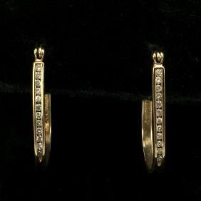 14K Gold Loop Post Earrings with Diamonds