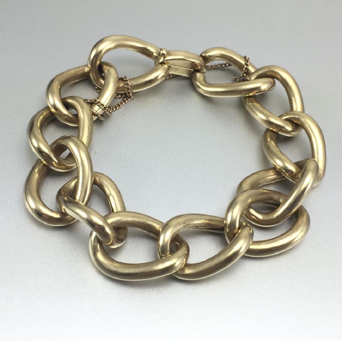 Beautiful 14k Gold Hollow Link Bracelet - 2