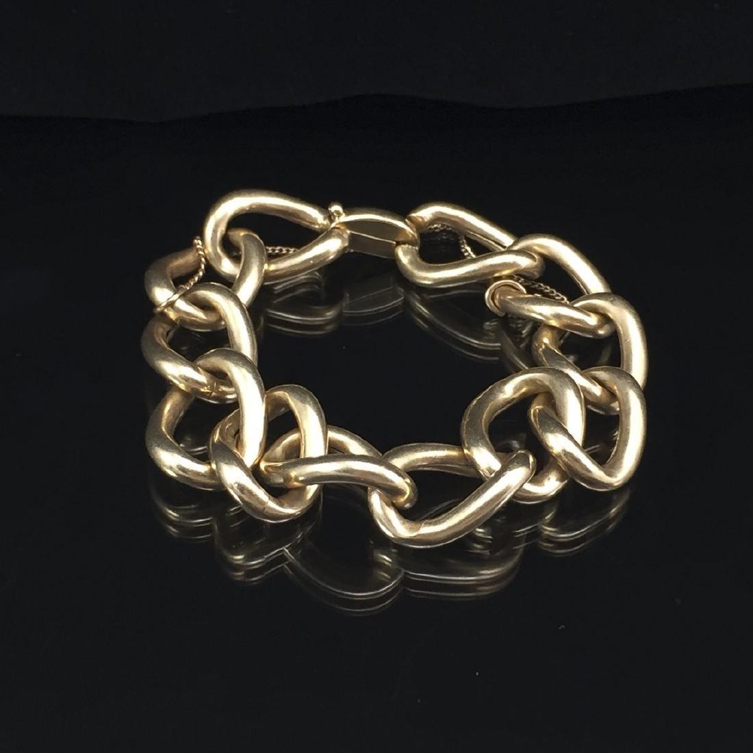 Beautiful 14k Gold Hollow Link Bracelet - 7