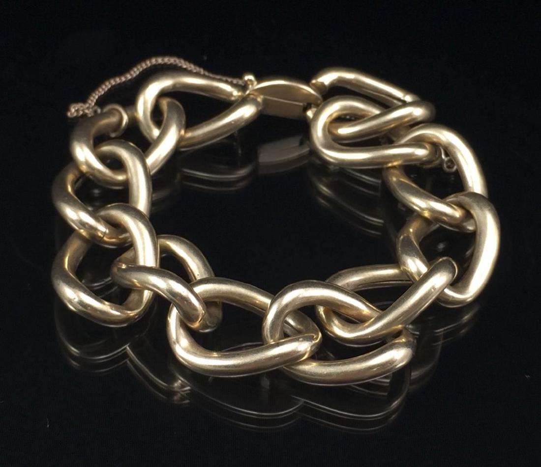 Beautiful 14k Gold Hollow Link Bracelet - 8