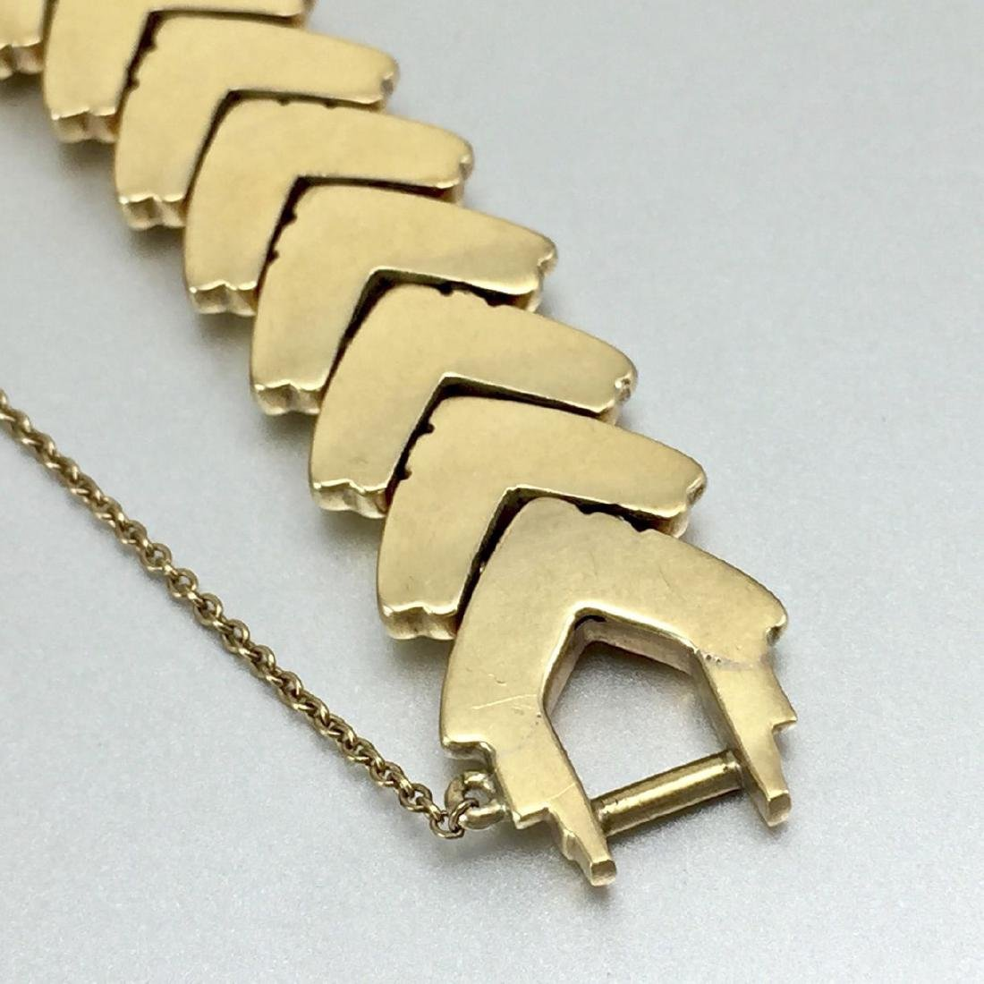 14k Herringbone Style Solid Gold Bracelet - 10