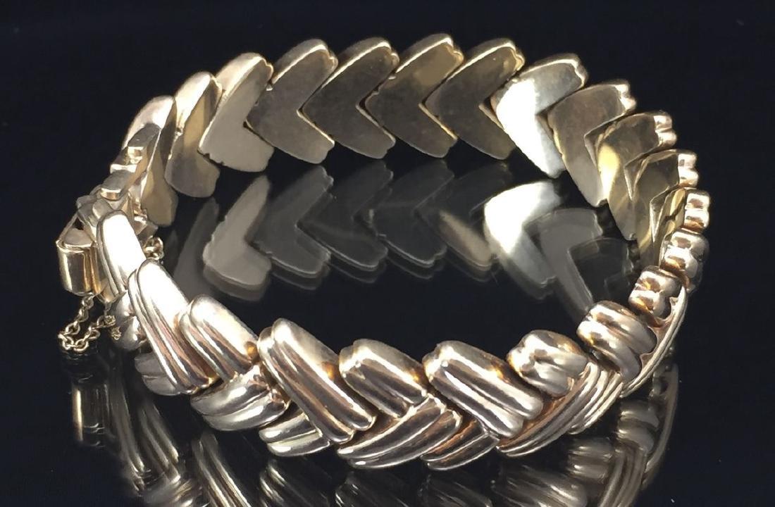 14k Herringbone Style Solid Gold Bracelet