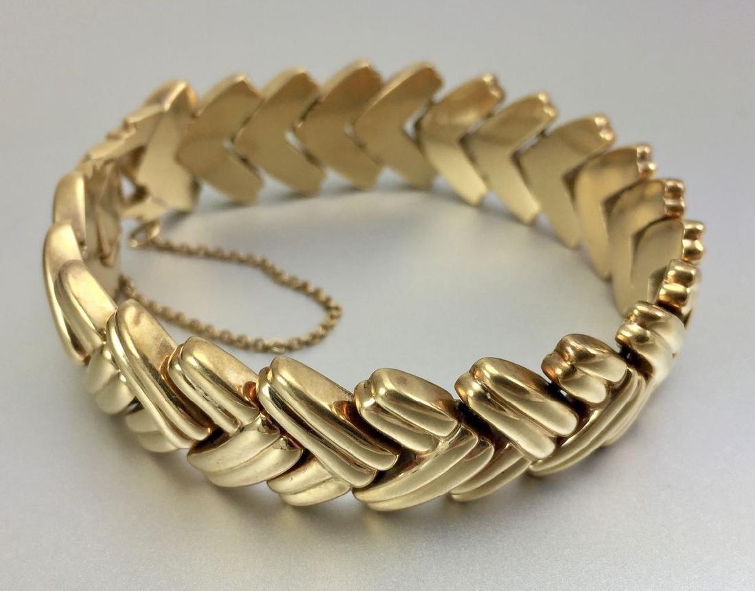 14k Herringbone Style Solid Gold Bracelet - 7