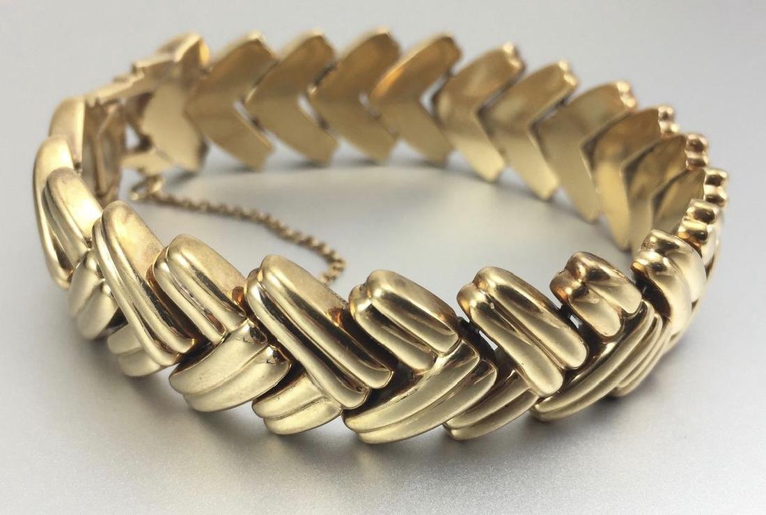 14k Herringbone Style Solid Gold Bracelet - 8