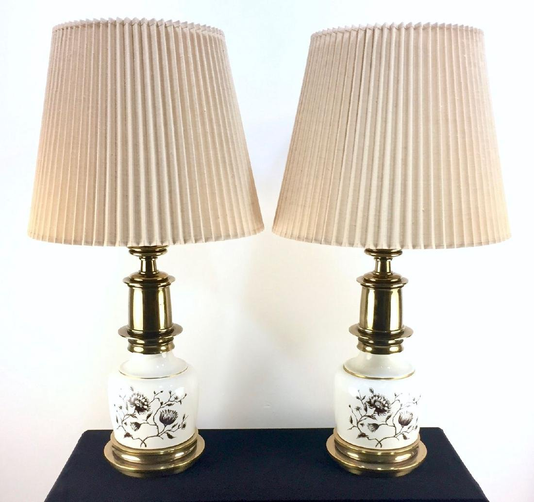 Pair of Vintage Stiffel Porcelain and Brass Table Lamps