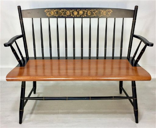 Super Vintage Hitchcock Furniture Co Bench In Black Harvest Machost Co Dining Chair Design Ideas Machostcouk