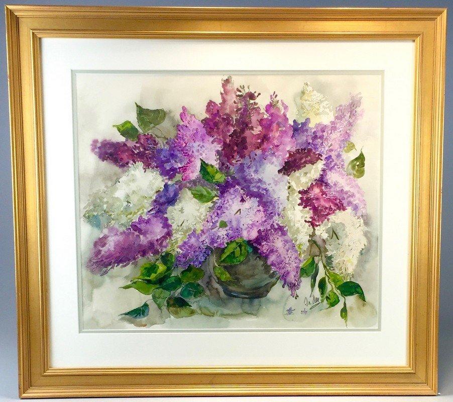 Framed Watercolor by Elvira Litz