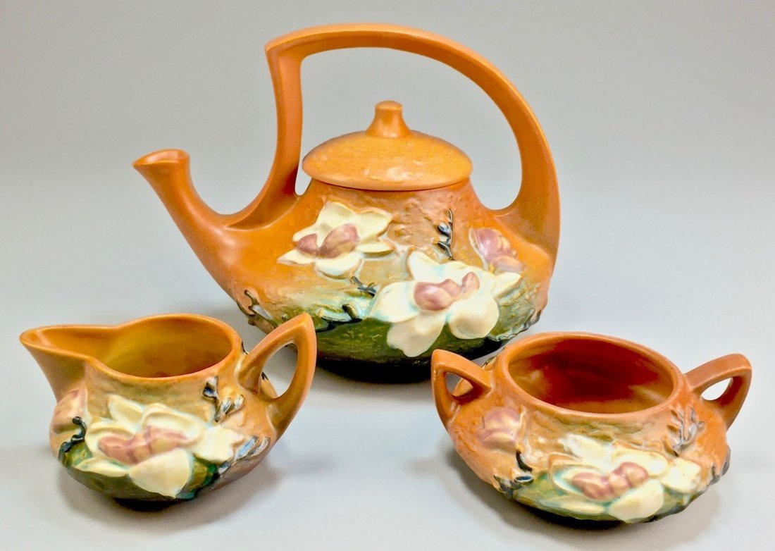 "Roseville Brown ""Magnolia"" Tea Set with Lidded Tea Pot"