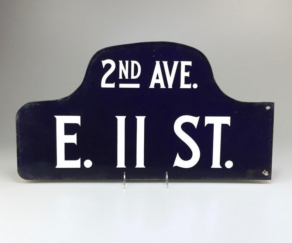 Vintage New York City Humpback Porcelain Street Sign