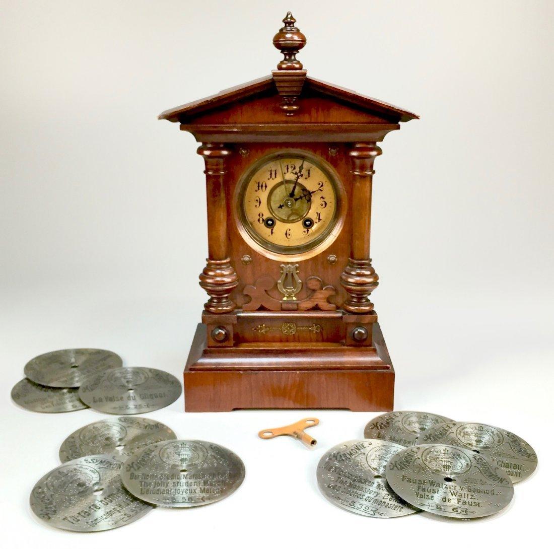 Antique German Symphonian Music Mantel Clock