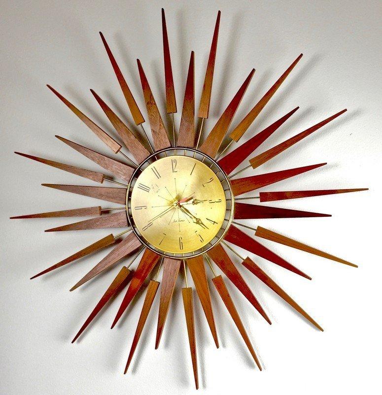 "Mid Century Set Thomas ""Starflower"" Wall Clock"