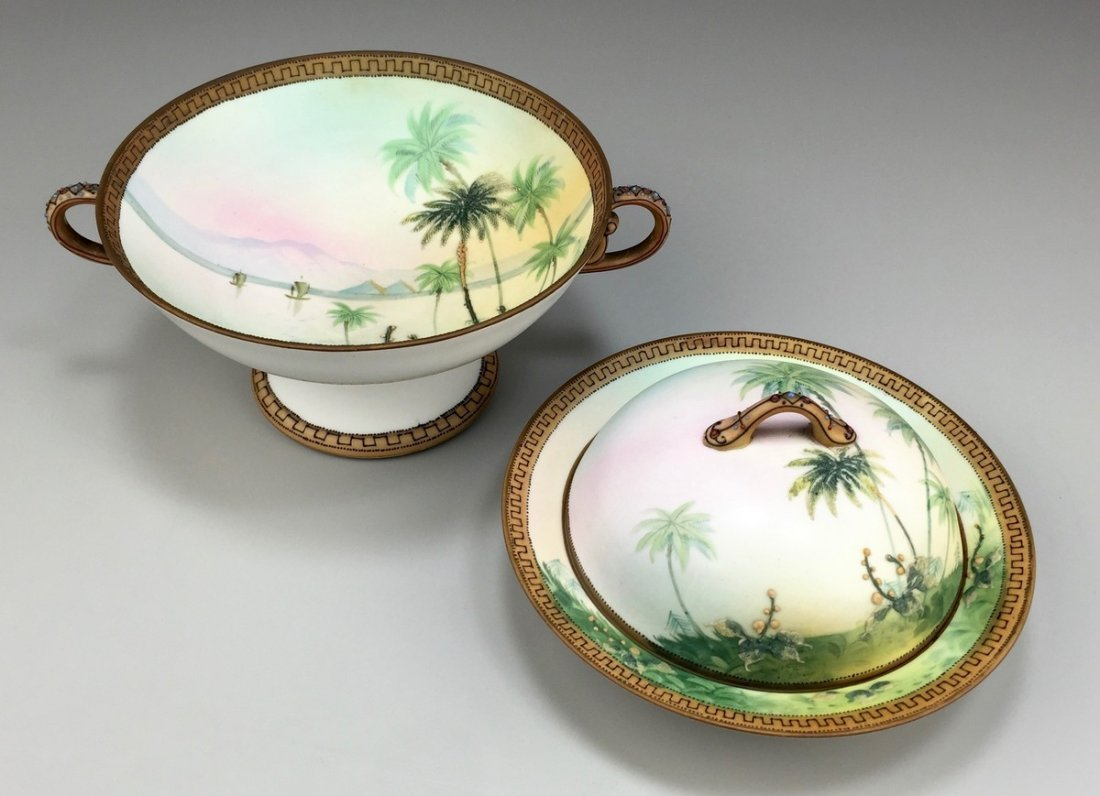 "Nippon Hand-Painted ""Egyptian Pyramid"" Bowl and Butter"