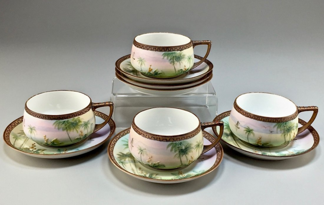 "Set of Four Nippon Hand-Painted ""Egyptian Pyramid"" Cups"