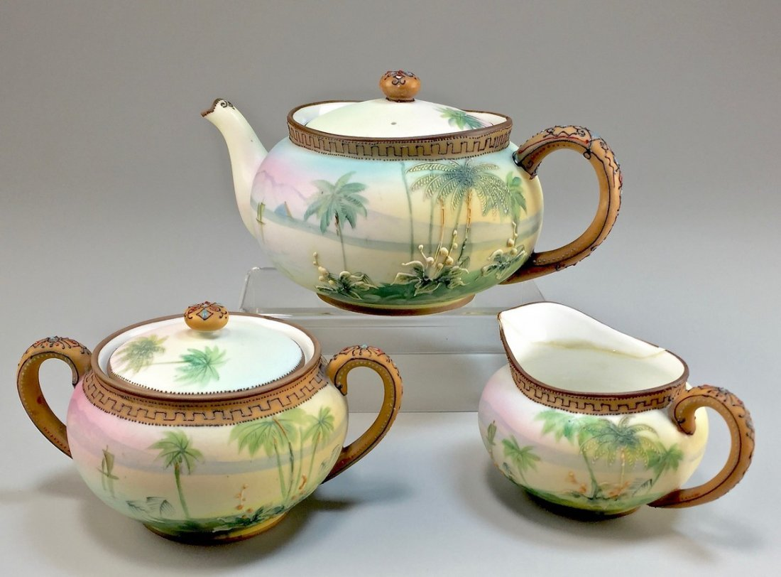 "Nippon Hand-Painted ""Egyptian Pyramid"" Tea Set"