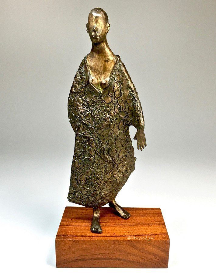 Bronze 13-Inch Sculpture  of Woman in Robe