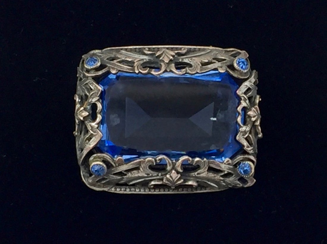 Art Nouveau Pin of Blue Czech Glass