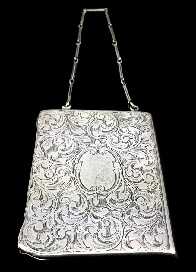 Victorian Sterling Silver Engraved Card Purse