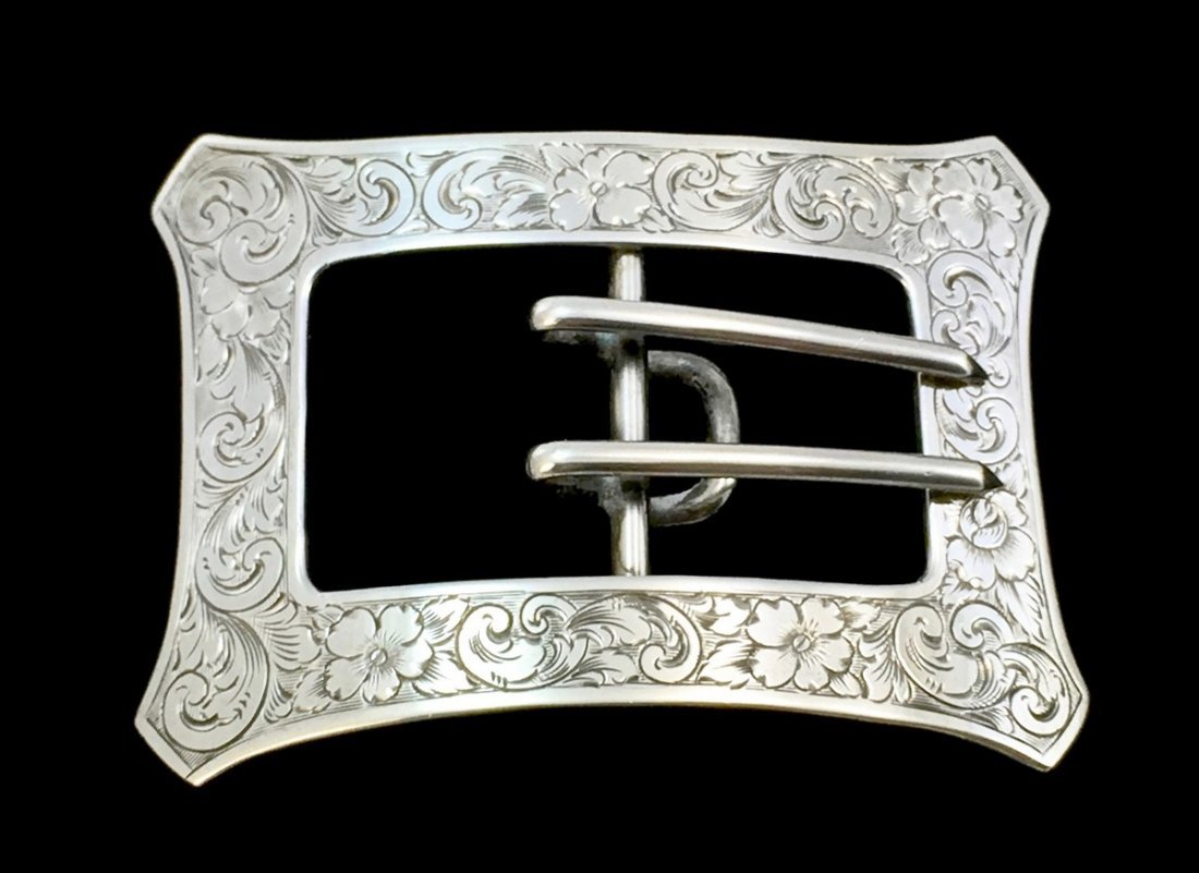 Art Nouveau William Kerr Sterling Silver Belt Buckle