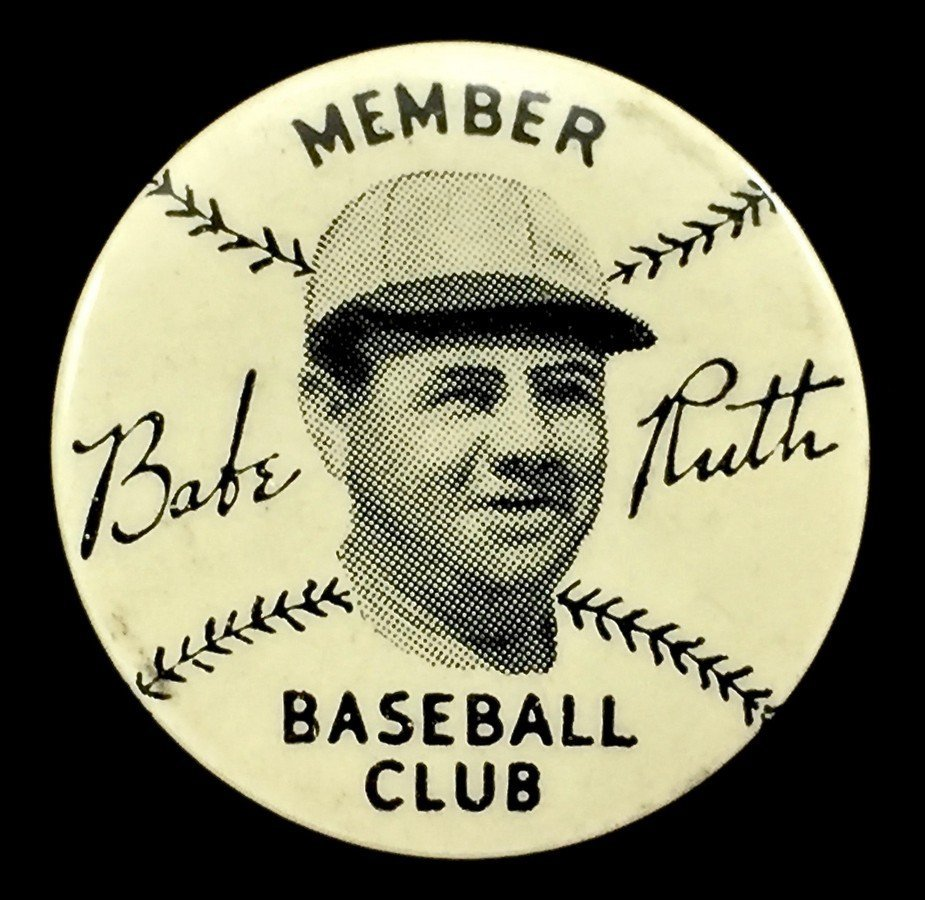 Babe Ruth 1930s Quaker Oats Baseball Club Member Pin