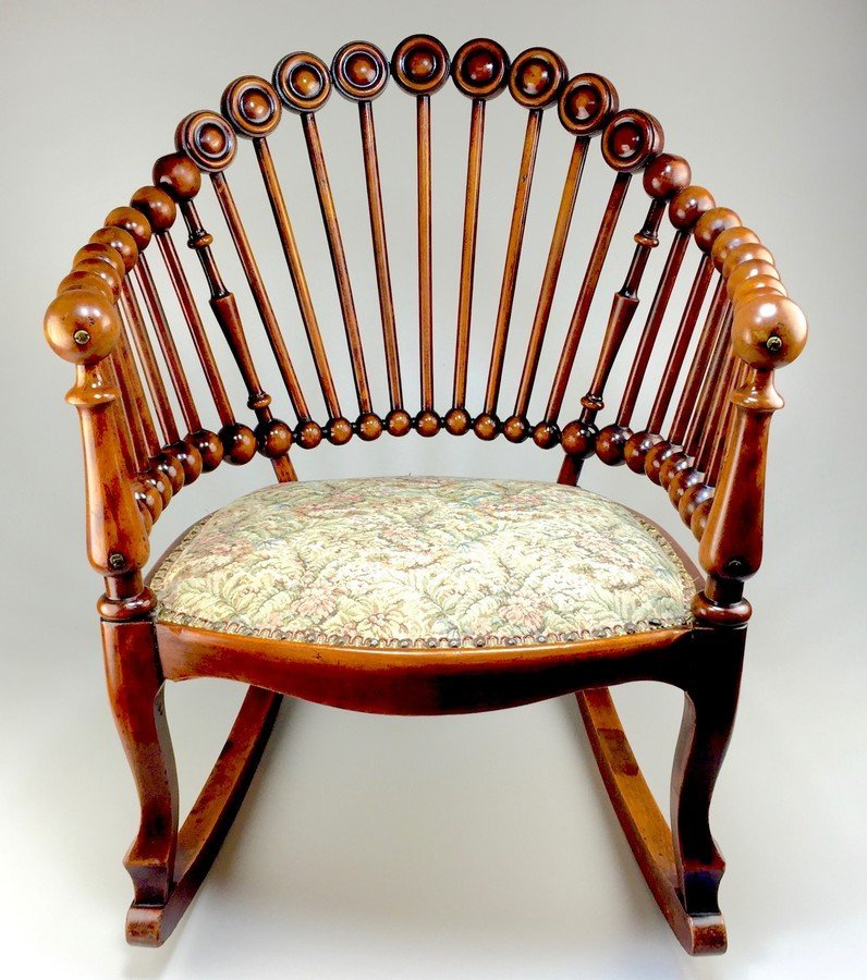 "19th Century George Hunzinger ""Lollipop"" Rocking Chair"