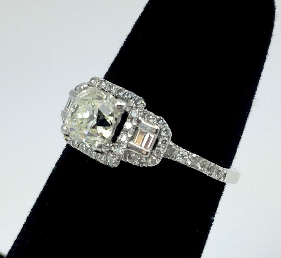 1.04 Carat Cushion Brilliant Diamond and Platinum Ring