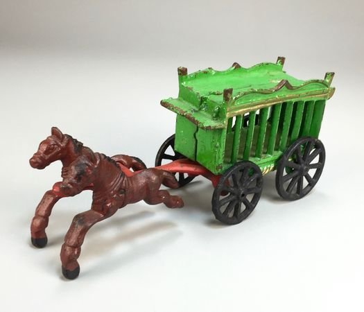 Vintage Cast Iron Two-Piece Horse-Drawn Circus Wagon