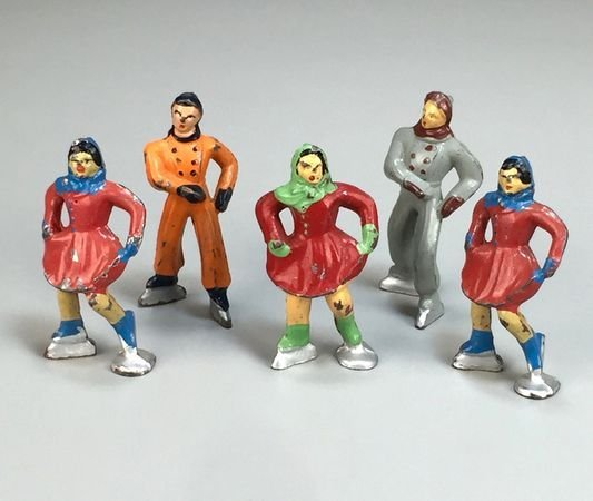 Set of Five Barclay Cast Lead Skaters