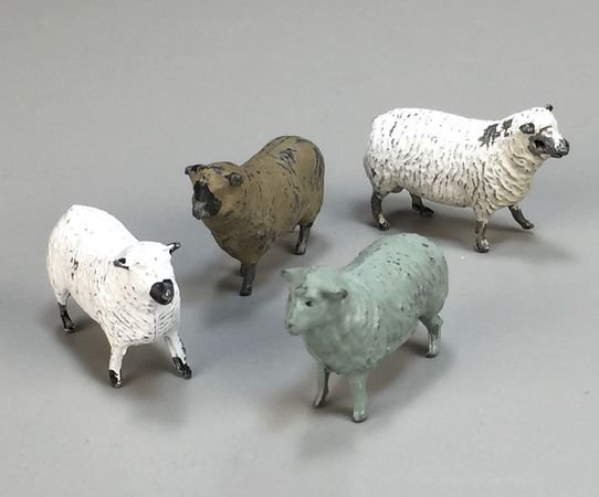 Set of Four Vintage Cast Lead Sheep from England