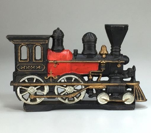 Cast Iron Hand-Painted Steam Engine Locomotive Train