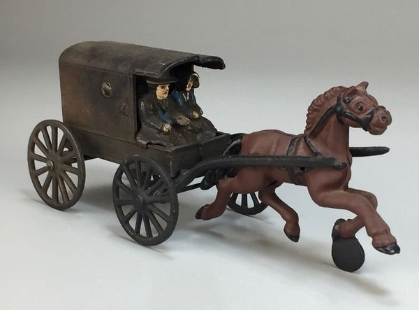 Vintage Cast Iron Amish Family in Horse-Drawn Buggy