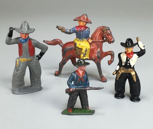 Set of Four Vintage Barclay/Manoil Cast Lead Cowboys