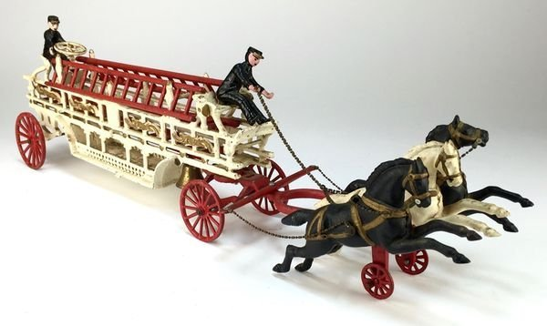 Vintage Cast Iron Three-Horse, Four-Ladder Toy Fire