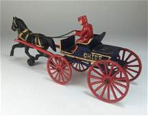 Vintage Cast Iron Toy OneHorse Fire Wagon for the