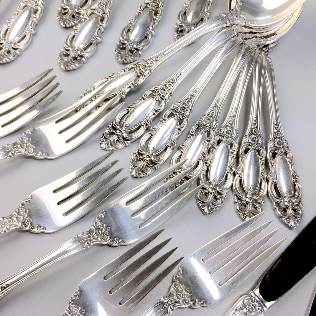 Towle Sterling Silver 1973 Grand Duchess Flatware Set - 7