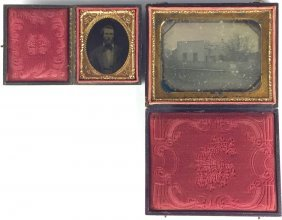 Antique Daguerreotypes in Leather-Covered Cases