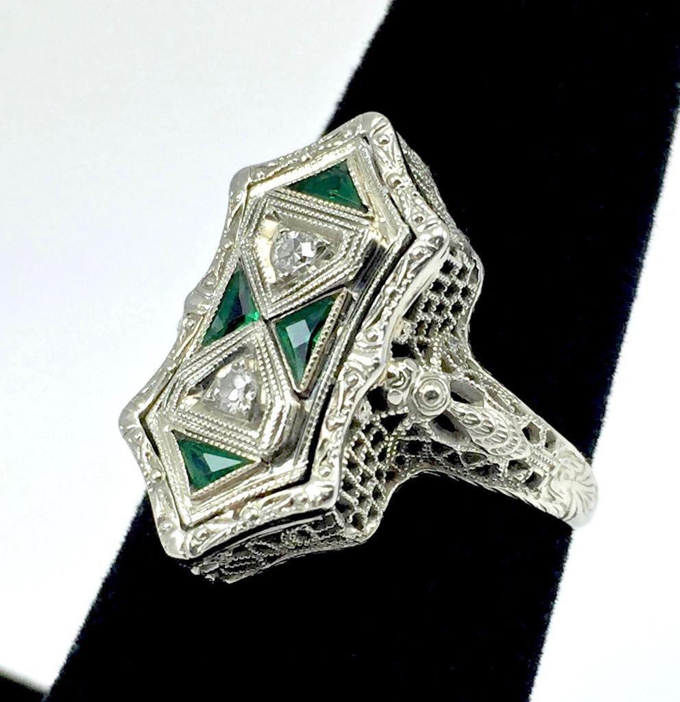 Art Deco Belais 14k Filigree Dragonfly Ring - 3