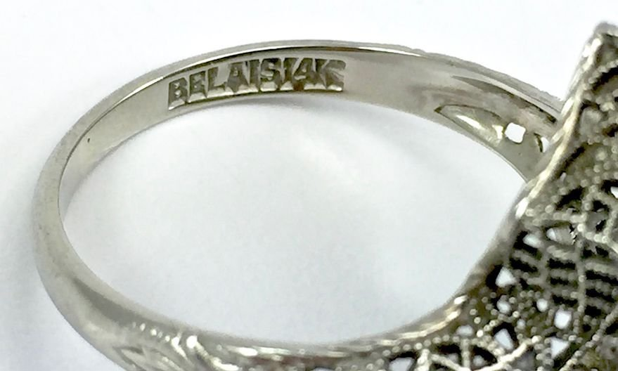 Art Deco Belais 14k Filigree Dragonfly Ring - 6
