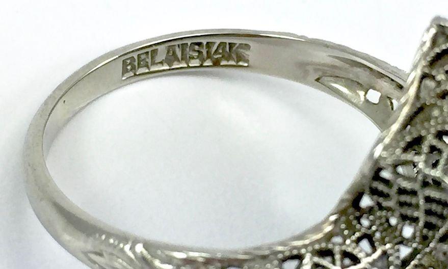 Art Deco Belais 14k Filigree Dragonfly Ring - 6