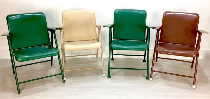 Set Of 4 Samson Folding Chairs By Russel Wright