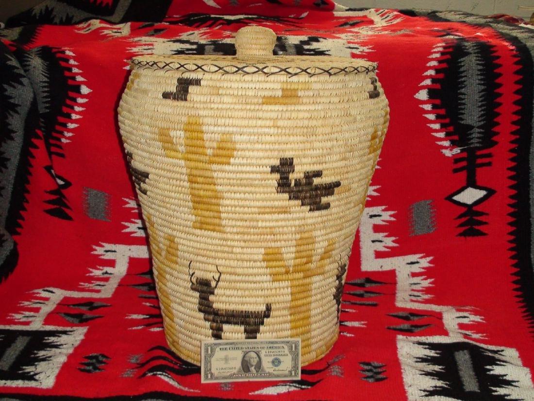 Native American Papago Tohono O'odham Polychrome Lidded