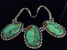 Native American Navajo Sterling Turquoise Necklace