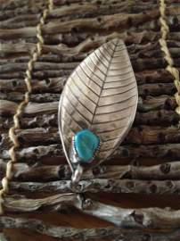 Native American Navajo Sterling Silver Turquoise Brooch