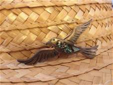Antique TAXCO Sterling Silver Abalone Bird Brooch Pin