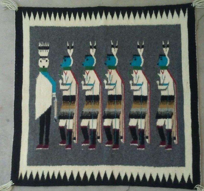 Native American Navajo Yeibechai Wool Rug Shiprock
