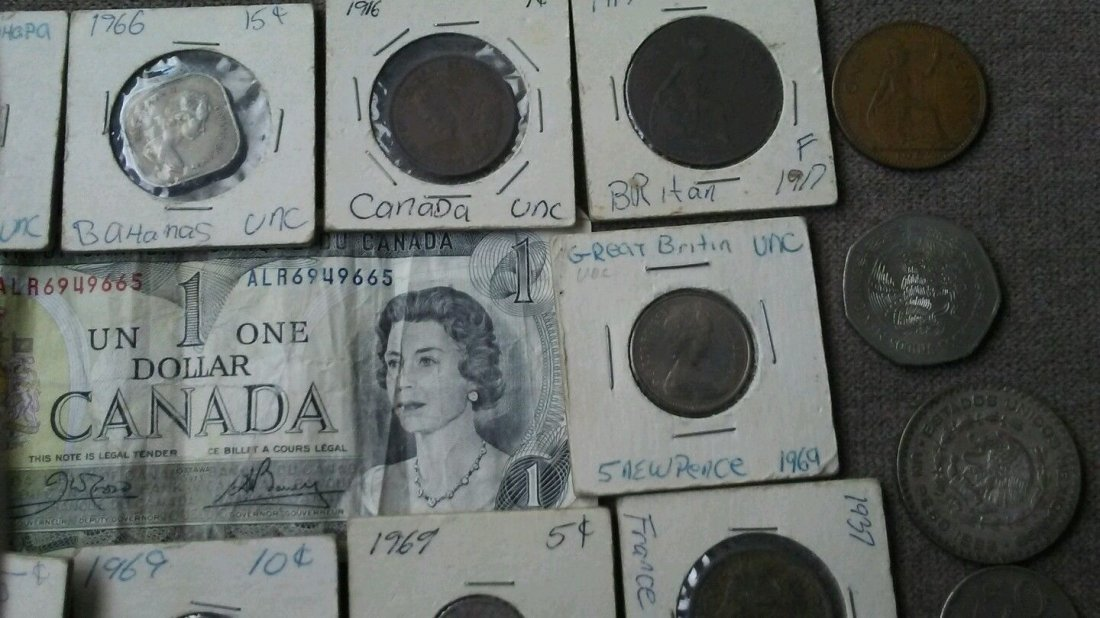 Antique World Coin Paper Currency Collection Canada - 5
