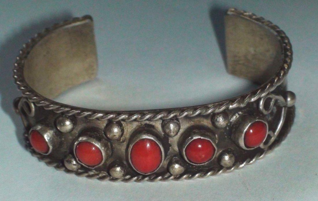 Native American Navajo Sterling Silver Coral Bracelet