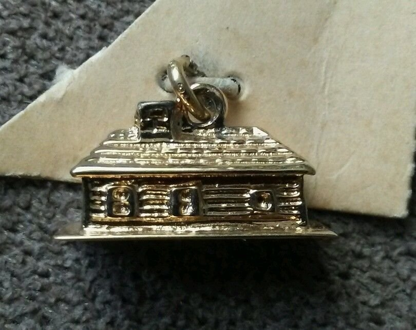 Fisher 22K Gold On Sterling Silver Log Cabin Charm