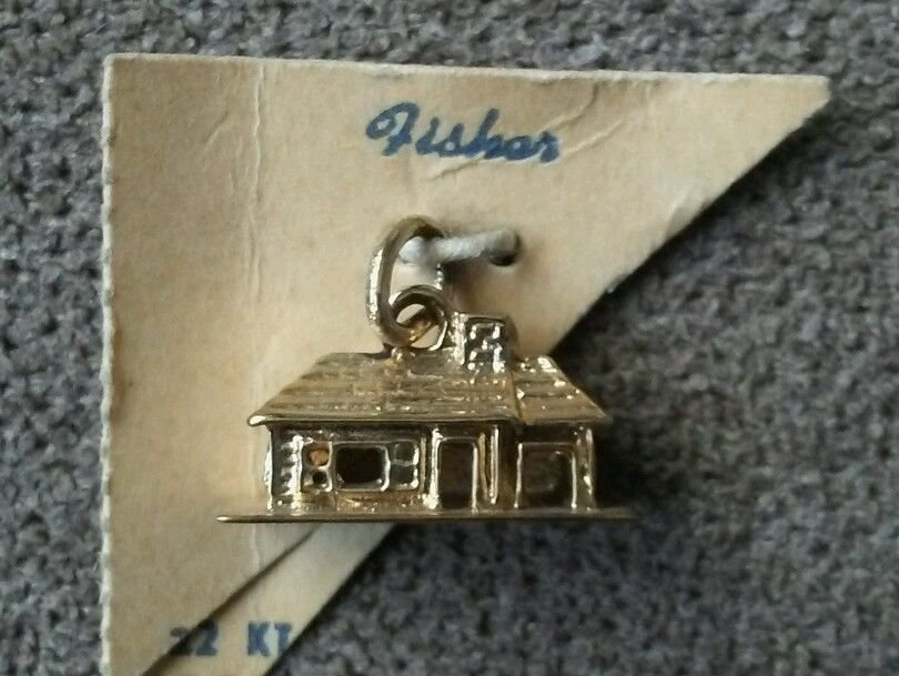 Fisher 22K Gold On Sterling Silver Log Cabin Charm - 2